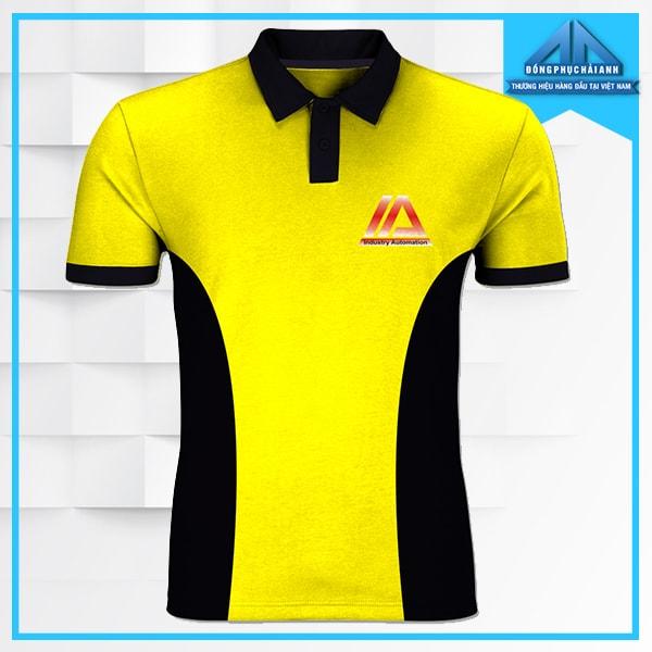 áo thun đồng phục công ty màu vàng, pha khối, có cổ