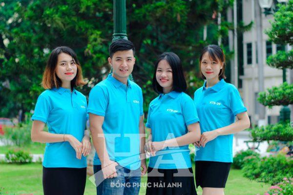 áo thun đồng phục công ty màu xanh