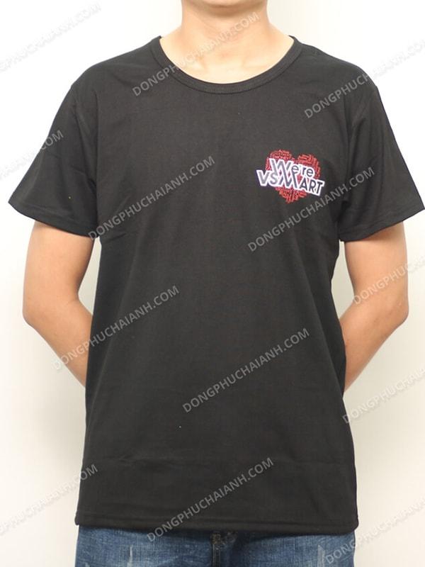 áo thun đồng phục công ty màu đen, cổ tròn