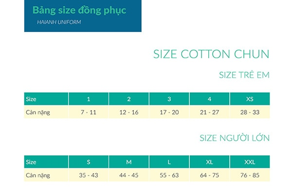 Bảng size áo thun cotton