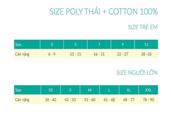 Bảng size áo thun poly thái