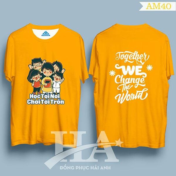áo thun đồng phục lớp màu cam