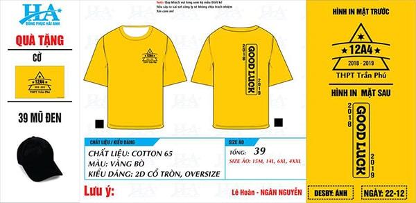 Mẫu áo phông đồng phục lớp 12A4 thiết kế với gam màu vàng bò chủ đạo