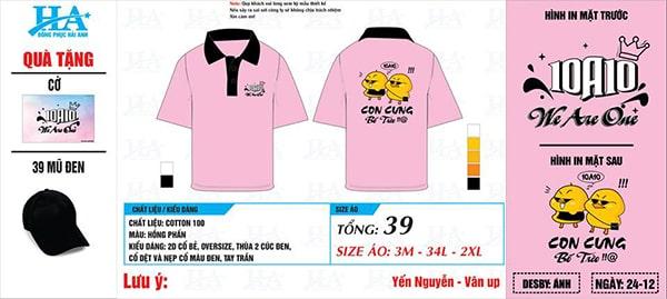 Mẫu áo phông đồng phục lớp 10A10 gam màu hồng phấn chủ đạo