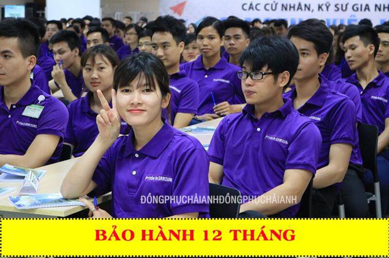 Mẫu áo thun đồng phục công ty màu tím nổi bật, thu hút sự quan tâm, chú ý của mọi người xung quanh.