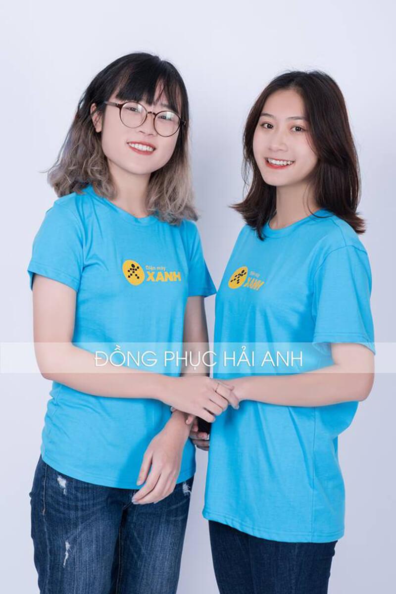 Mẫu áo thun đồng phục công ty cổ tròn gam màu xanh nổi bật.
