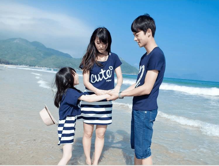 Áo đồng phục gia đình 3 người đi biển