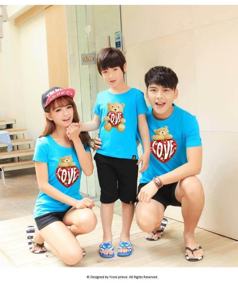 Áo đồng phục gia đình 3 người màu xanh