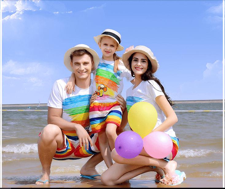 Áo đồng phục gia đình 3 người di du lịch
