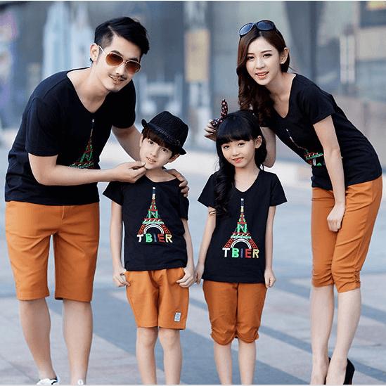 Áo đồng phục gia đình 4 người màu đen