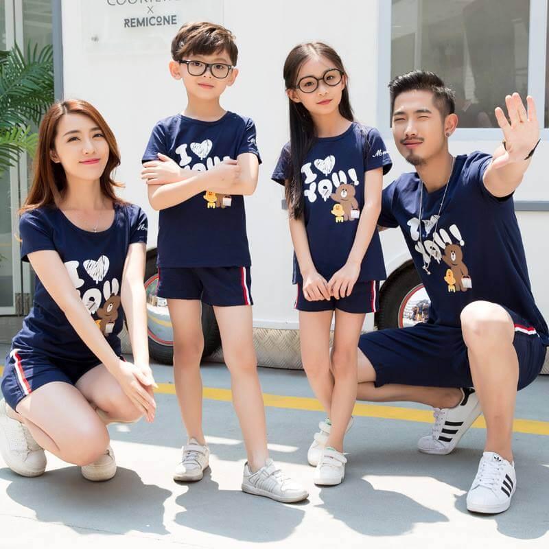 Áo đồng phục gia đình mùa hè 4 người