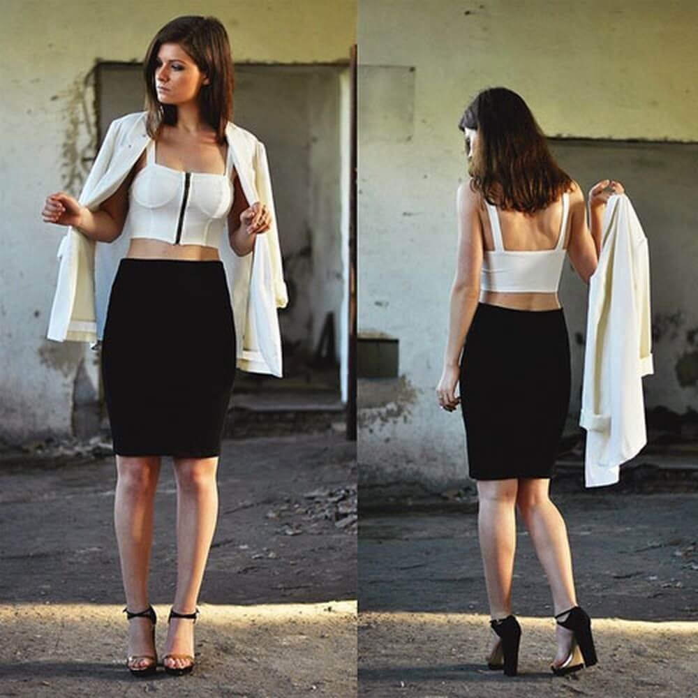 Mix áo thun croptop với váy ôm