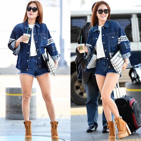 Soyu của nhóm Sistar phối áo thun trắng với áo khoác jacket, quần short ngắn trẻ trung, cá tính