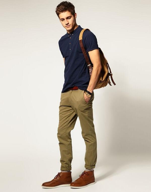 Mix áo thun polo nam cùng quần kaki