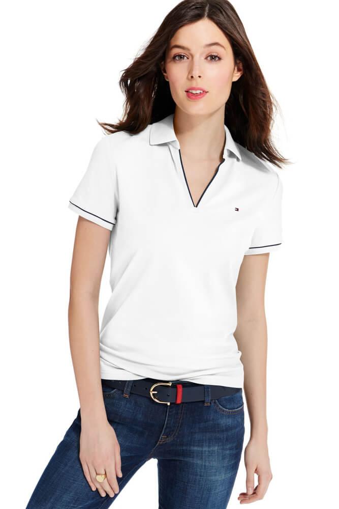 Mix áo thun polo nữ cùng quần jean