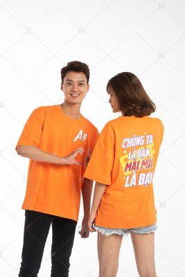 Mẫu áo lớp oversize cổ tròn màu cam