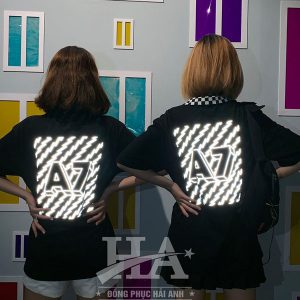 Mẫu áo lớp phản quang cổ caro màu đen A7