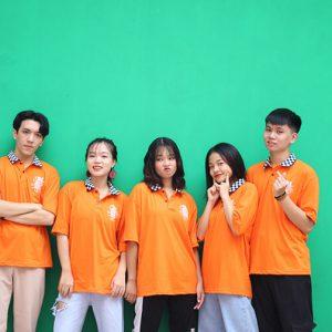 Mẫu áo lớp caro màu cam A1