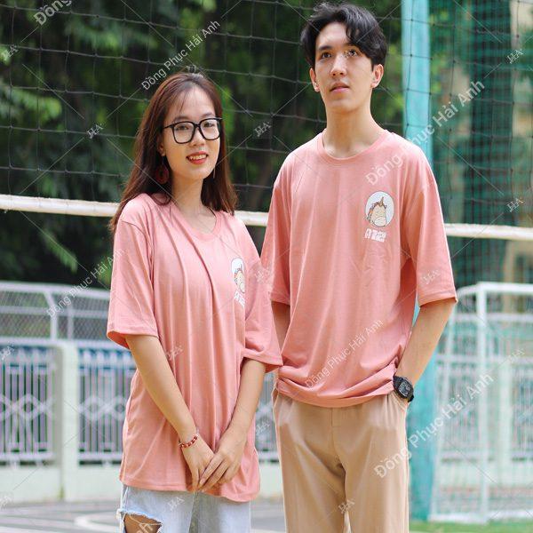 Mẫu áo lớp oversize cổ tròn màu hồng lòng tôm A12