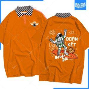 mẫu áo lớp caro màu cam D3