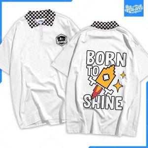 Mẫu áo lớp phản quang cổ bẻ màu trắng 9K Born to Shine