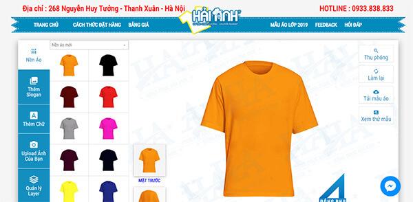 Giao diện website làm logo áo lớp online của Đồng phục Hải Anh
