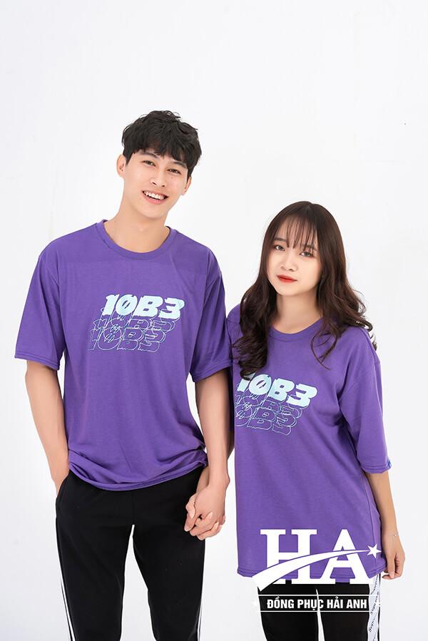 Mẫu áo lớpoversizecổ tròn màu tím Violet 10B3