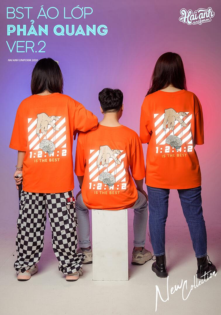 Mẫu áo lớp phản quang in decal màu cam 134