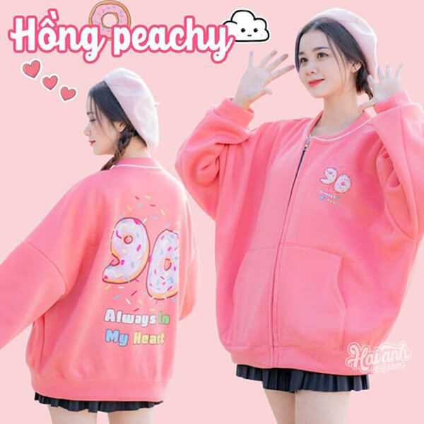 Mẫu áo lớp bomber màu hồng peachy
