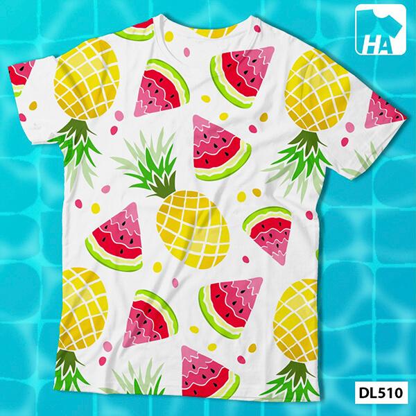 Mẫu áo nhóm lớp du lịch họa tiết hoa quả trái cây tươi mát