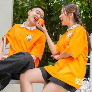 Mẫu áo lớp Lucky màu cam lợt
