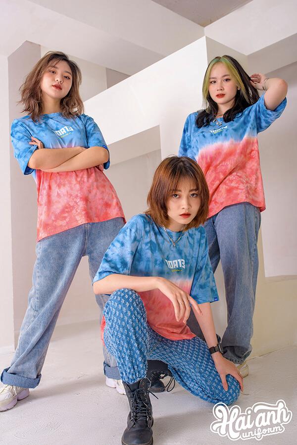 Mẫu áo lớp Patchy Ombre xanh hồng
