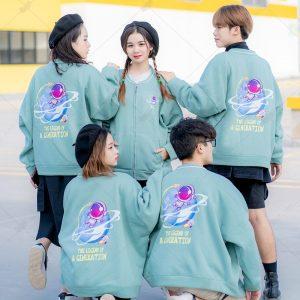 Áo khoác nỉ bomber màu xanh mint trẻ trung, năng động