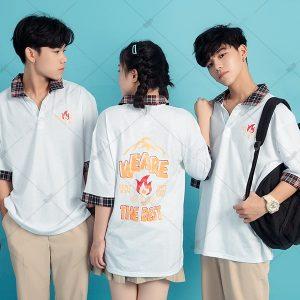 Áo lớp Poka màu trắng cổ choco thiết trẻ trẻ trung, nhăng động và lịch sự