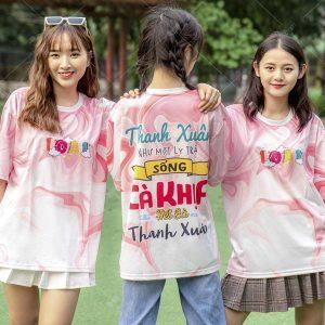 Mẫu áo lớp 3D màu hồng 10a1 in hình HOT TREND
